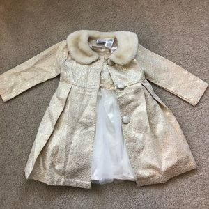 Girls Holiday Dress with Matching Coat and fur